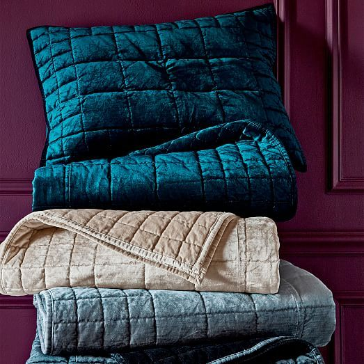 Washed Cotton Luster Velvet Quilt + Shams   Regal Blue