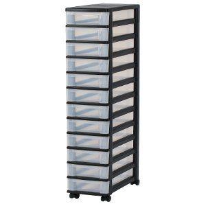 Iris 144007 Schubladencontainer, 12 Schübe, Schubladenbox mit 12 Schubladen, NMC-012, schwarz