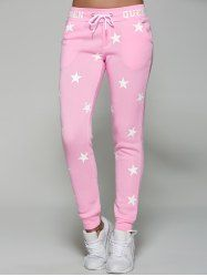 Star Print Drawstring Waist Sporty Pants