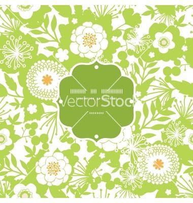 Green and golden garden silhouettes frame seamless vector