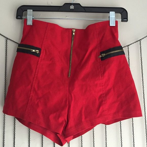 Nasty Gal high waisted shorts Rayon/nylon/spandex blend. Front gold zipper closure. Two horizontal front zippers for aesthetic looks not functional. Nasty Gal Shorts