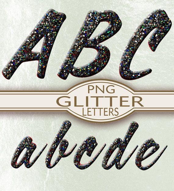 Black Glitter Alphabet PNG digital scrapbook instant download printable images digital collage sheet f012