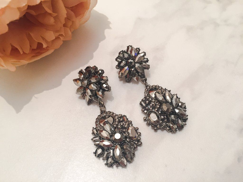 Jewels By House Of Aria: Zain Statement Earrings, Chrome Earrings, Gunmetal  Grey Earrings