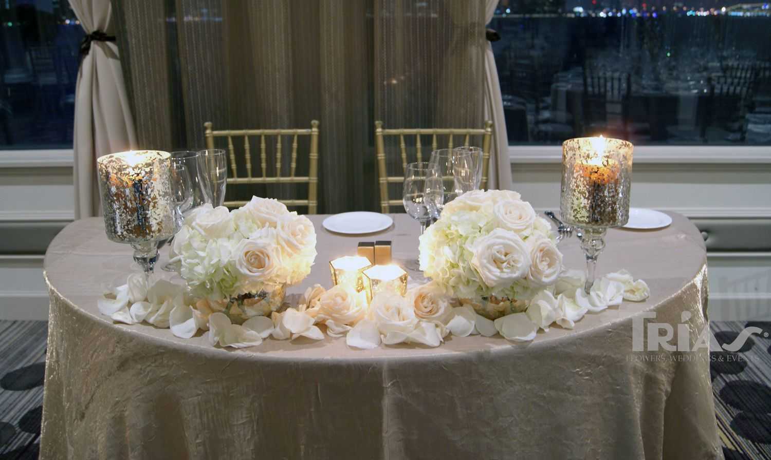 Bride And Groom Table With Gorgeous White Roses