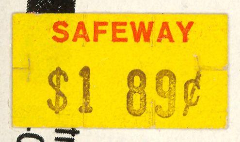 Safeway Price Sticker Price Sticker Vintage Lettering Safeway