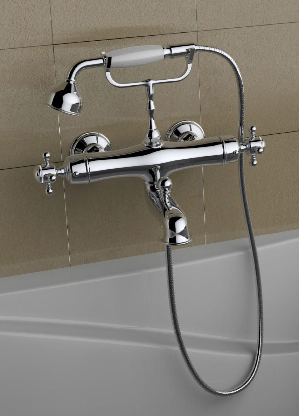 American Modern Wall Mount Chrome Clawfoot Tub Faucet Exposed