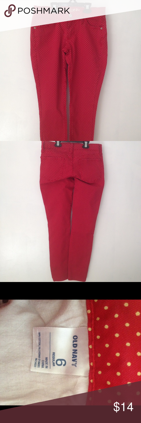 Red polka dot jeans size 6 old navy rock star jeans red with tiny red polka dot jeans size 6 old navy rock star jeans red with tiny yellow sisterspd