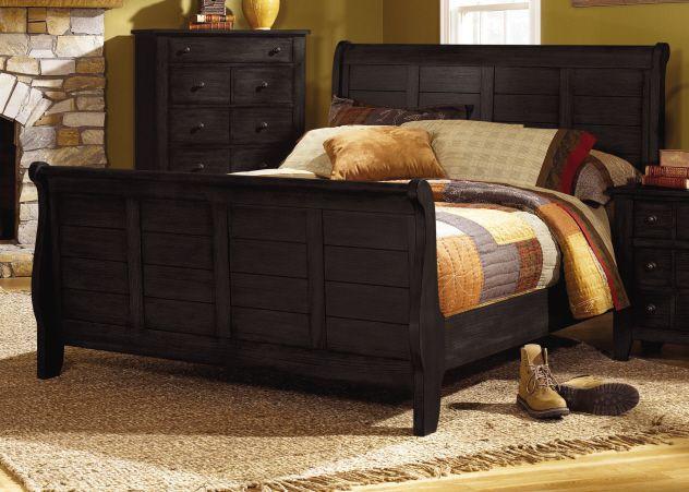 4 PC Grandpas Cabin Black Sleigh Bedroom Furniture Set By Liberty Furniture    DC