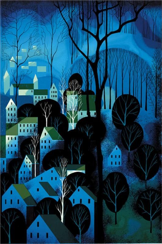 Coastal Fog - Eyvind Earle. Love his stylized paintings... he painted the backgrounds for Disney's Sleeping Beauty...