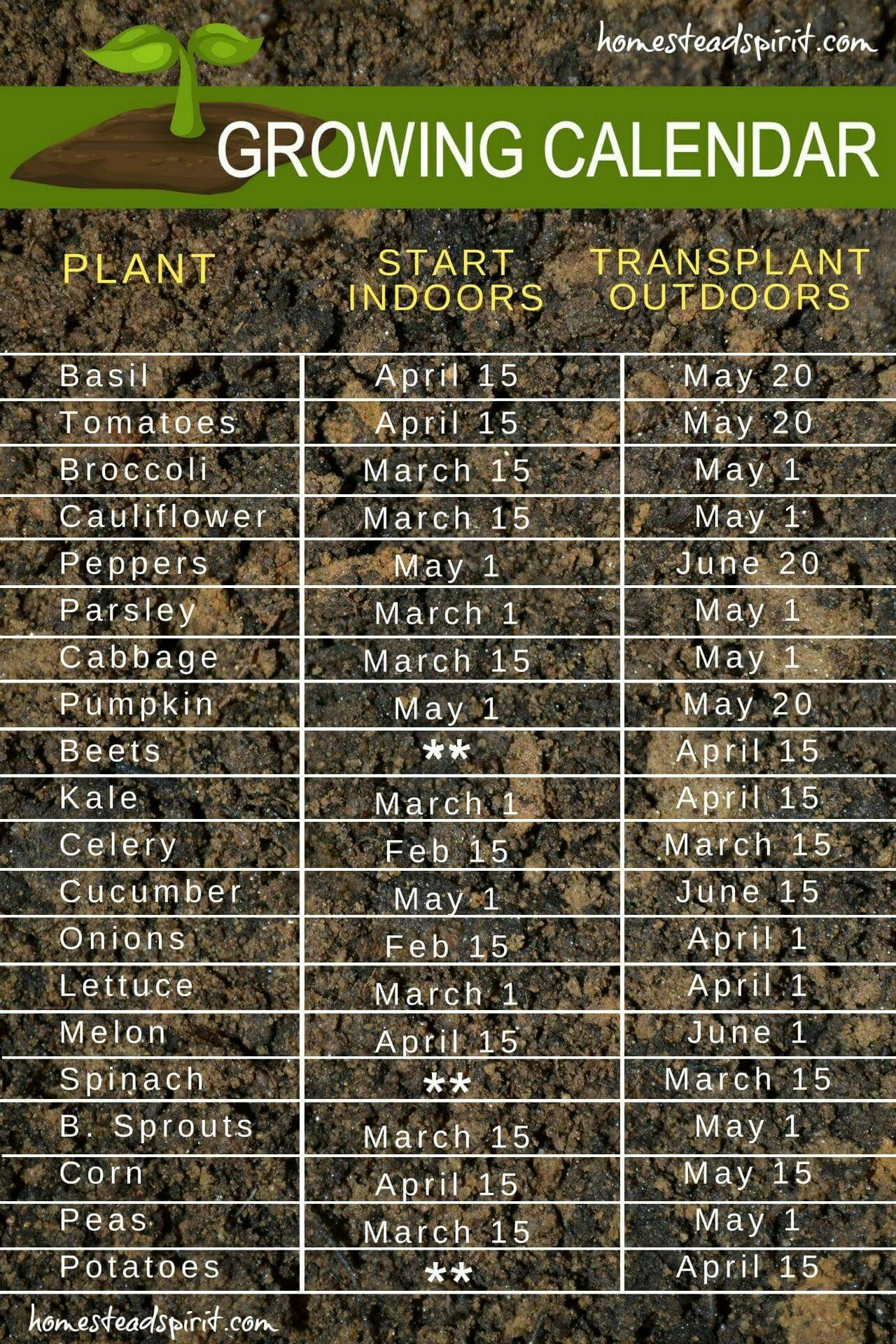 Growing Calendar For Starting Seeds Indoors And Transplanting