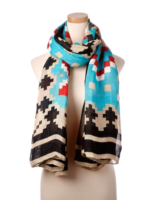Turquoise Multi Marrakech Tie All Scarf | 「warming the neck ...