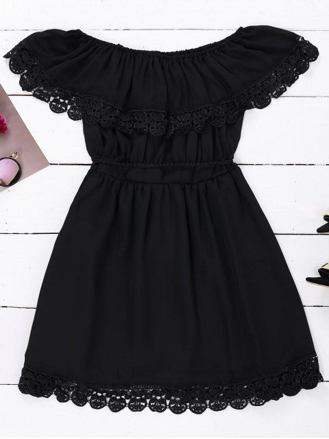 6f3903bb11aa Off Shoulder Chiffon Dress With Belt - BLACK L Black Mini Dresses