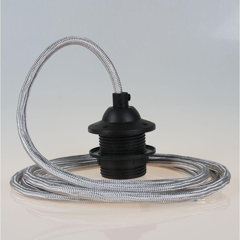 Textilkabel Lampenpendel Silber Mit E27 Dach Lampenfassung