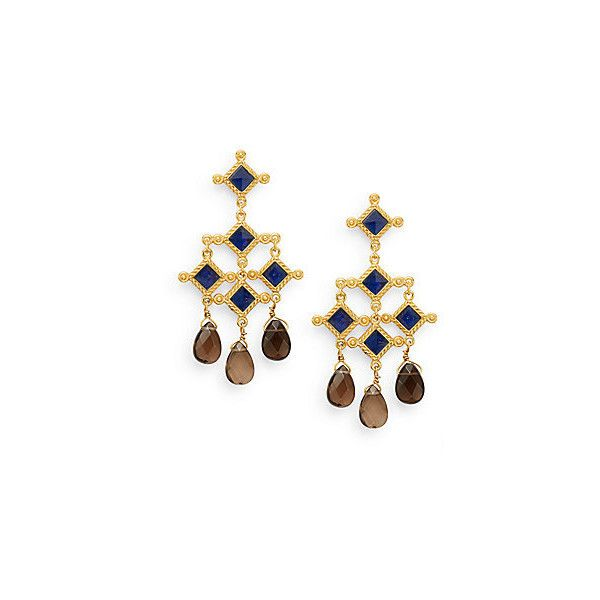 Stephanie Kantis London Blue Crystal & Smoky Topaz Briolette Venetian... (€200) ❤ liked on Polyvore featuring jewelry, earrings, gold, 24-karat gold jewelry, crystal stone jewelry, blue earrings, 24k earrings and blue jewelry