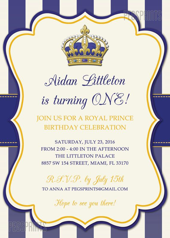 royal prince birthday invitation