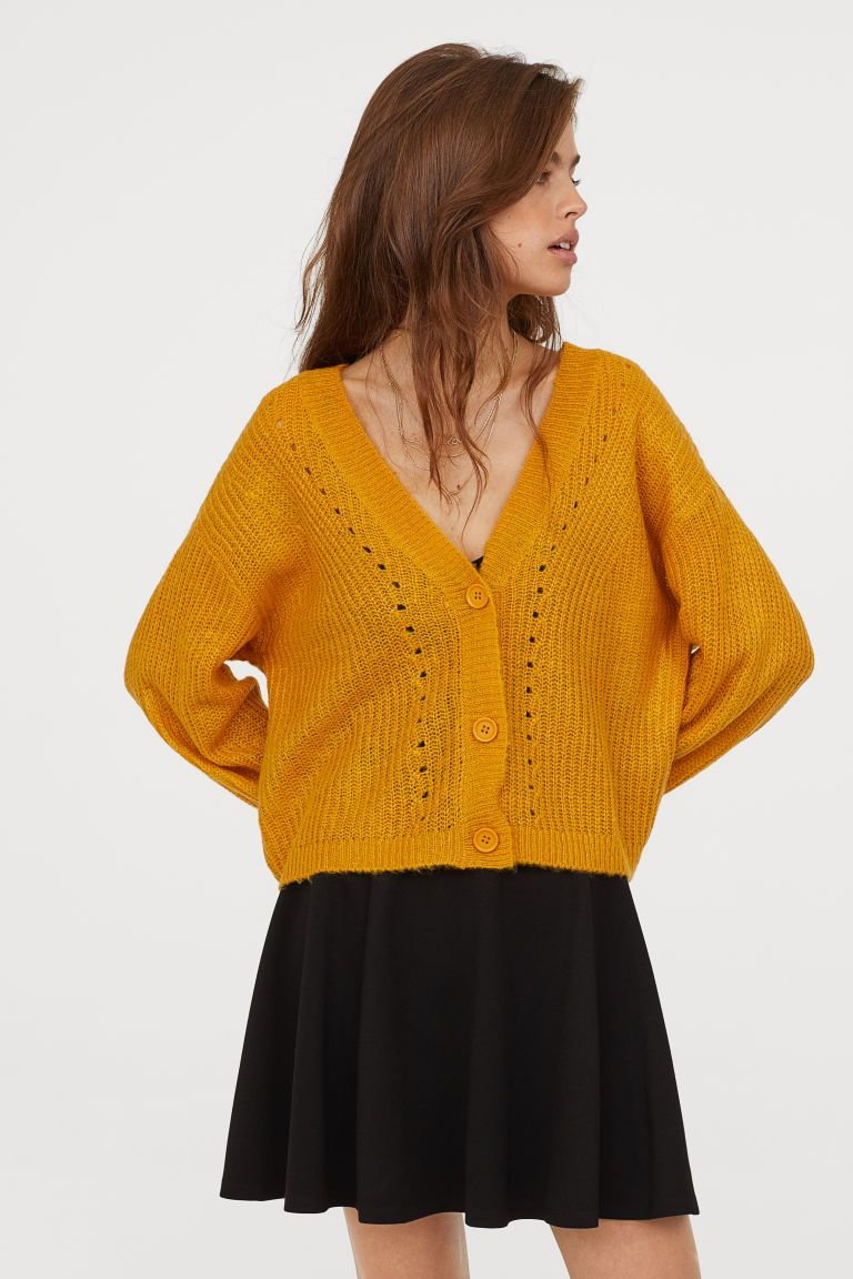 V-neck Cardigan - Mustard yellow - Ladies  8c35accf8