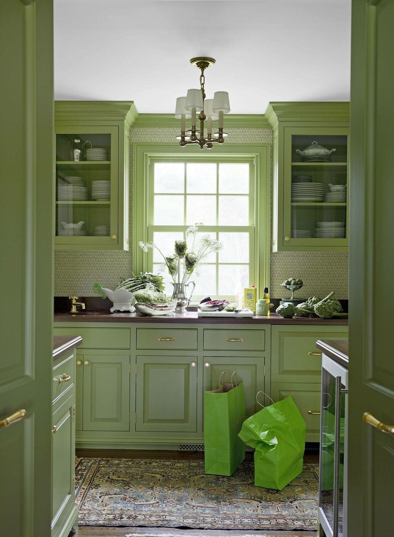 pin by dee barnes on decorating dream ideas green kitchen cabinets green countertops on kitchen cabinet color ideas id=58671