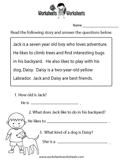 Reading Comprehension Practice Worksheet | School - Reading ...