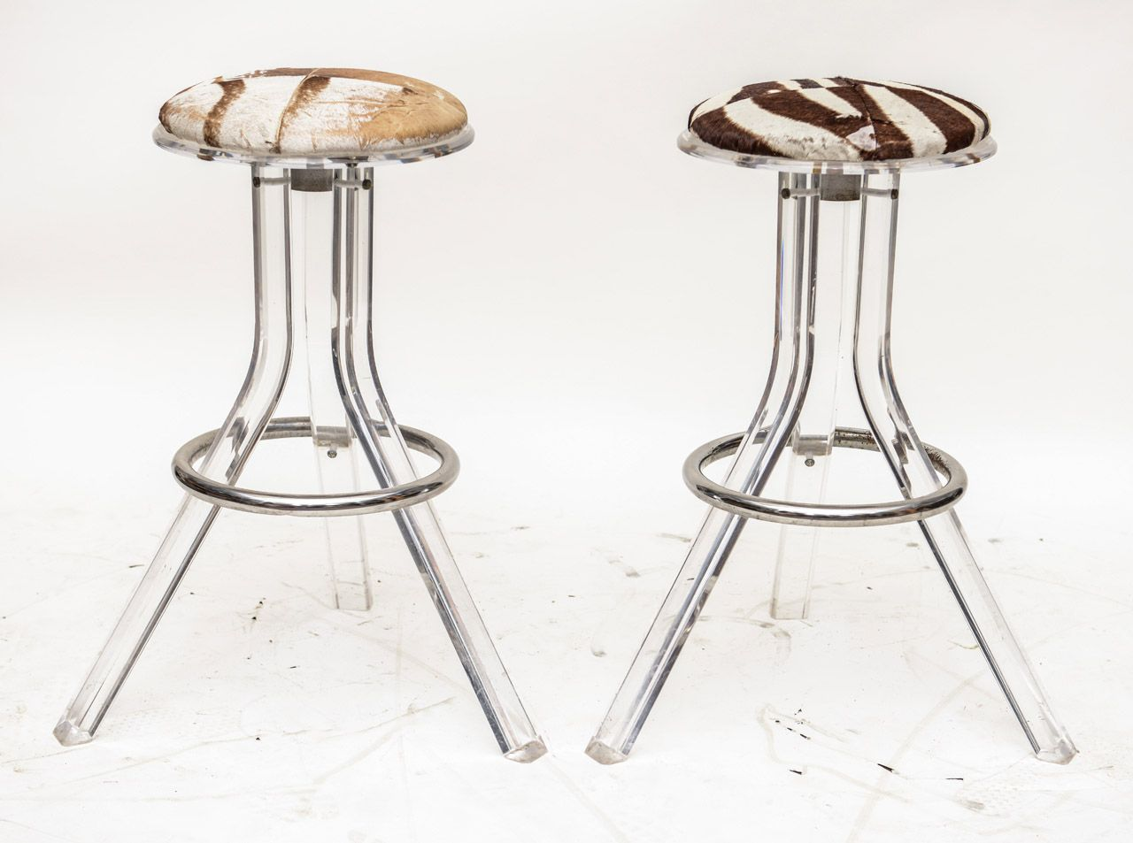 Pair of vintage lucite and zebra hide barstools at 1stdibs on furniture lucite bar stools acrylic bar stools clear acrylic bar stools clear bar stools