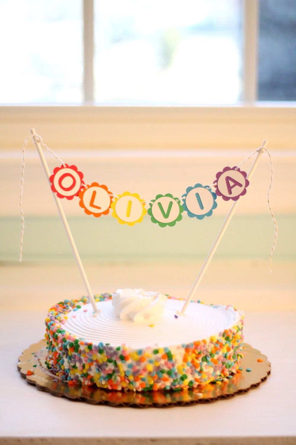 Personalized Rainbow Cake Topper Banner By ThePaperWonderland On Etsy Listing 183151453