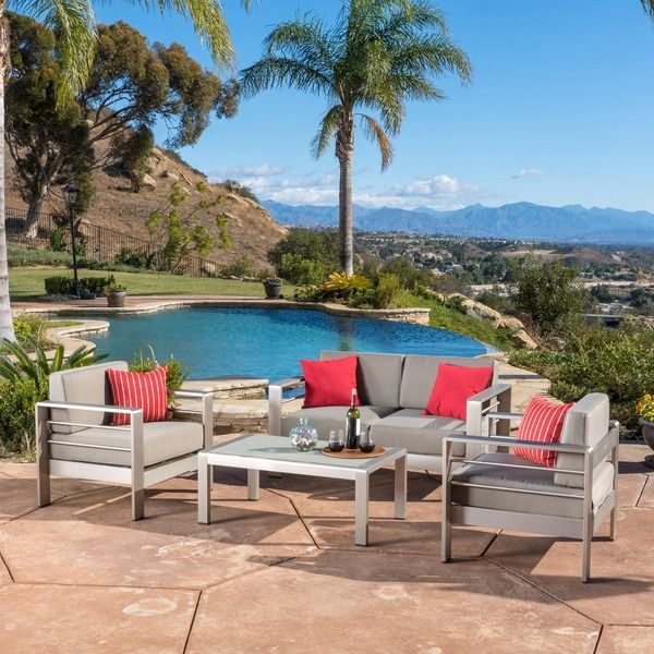 Cape Coral Outdoor Aluminum 4 Piece Loveseat Set With Cushions By Christopher  Knight Home By Christopher Knight Home