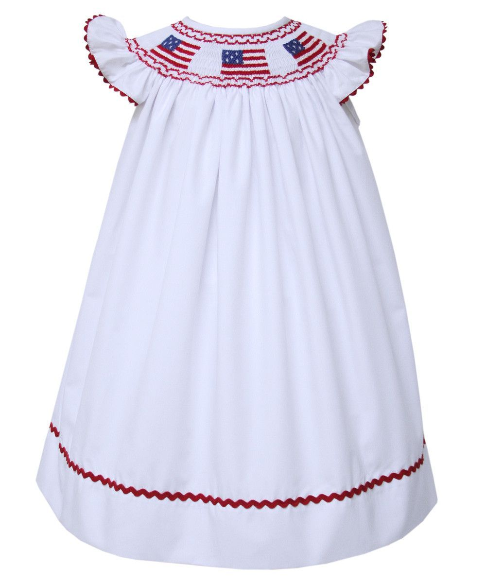 9c15e380c Girls US Flag Dress Victoria in White for Independence Day ...