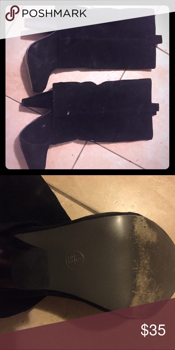 Black heel boots comfy high shoes heels new Like new size 8 suede boots size 8 go up under knee Shoes Heeled Boots