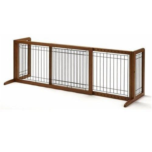 Wood Freestanding Pet Gate Dog Fence Safety Walk Wide Baby Door ...