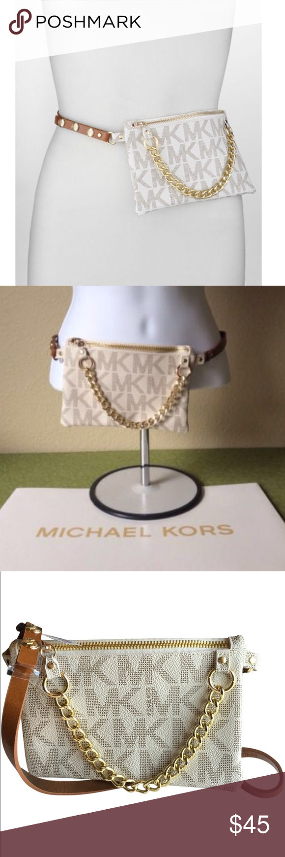 "2c8d765aa5ec Michael Kors MK Belt Bag Fanny Pack- XL NWT Authentic MK Belt Bag 3 snap  closure Size XL Bag- 7.25"" x 5"" White/Brown/Gold New with tags No trades  Price is ..."