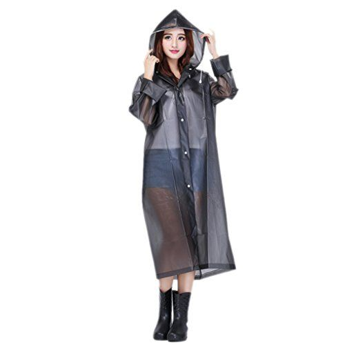 Women Packable Lightweight Transparent EVA Rain Jacket Poncho ...
