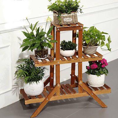 Wooden Plant Stand Indoor Outdoor Garden Planter Flower Pot Stand Shelf Rack House Plants Decor Plant Holders Indoor Wooden Plant Stands