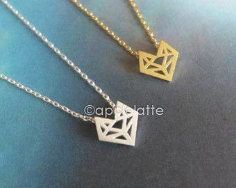origami fox necklace in gold or silver, fox necklace, fox jewelry