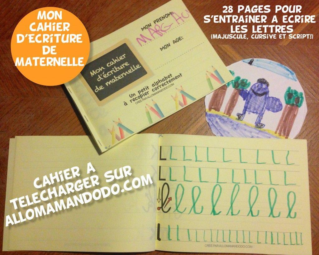 Le cahier d\'écriture de maternelle à télécharger ( Gratuit ...
