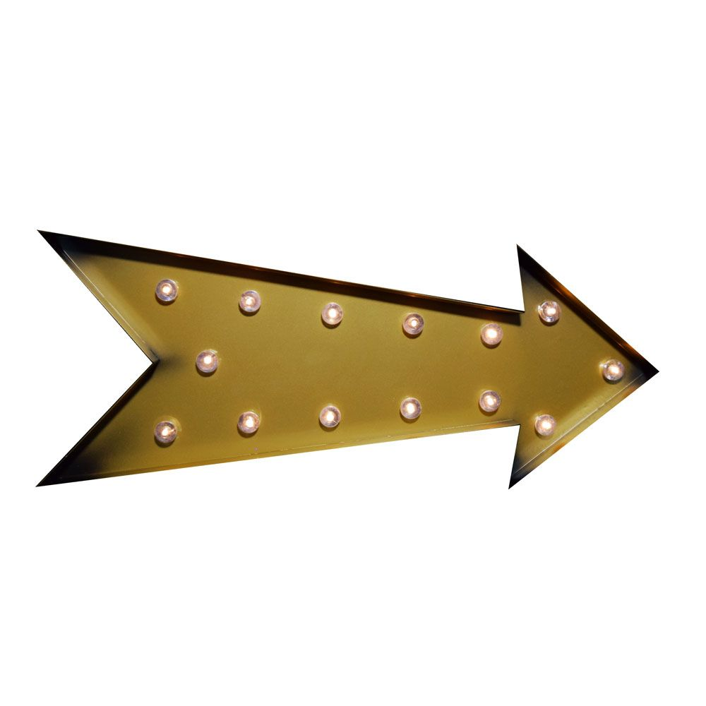Marquee Light Gold Arrow Shape LED Metal Sign (Battery Operated ...