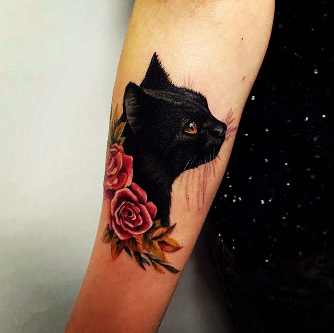 Imadom Cattattoo Cat Love Roses Tattoosbylili Blackcat Tattoo Cat Tattoo Designs Black Cat Tattoos Body Art Tattoos