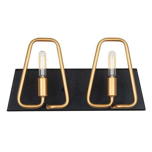 Photo of Varaluz 318B02AGCB Triangulo Aged Gold & Carbon Two-Light ADA Bathroom Vanity in Aged Gold / Soot Adjustable, Art Deco | Bellacor