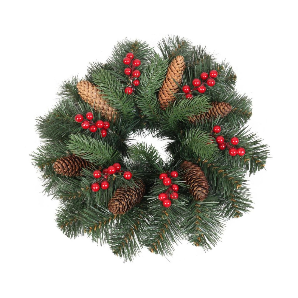 Wianek Swiateczny Z Szyszkami 40 Cm Zielony Swieczniki I Dekoracje Swiateczne W Atrakcyjnej Cenie W Sklepach Leroy Christmas Wreaths Holiday Decor Holiday