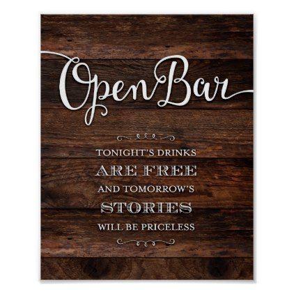 Rustic Chic OPEN BAR Party Sign Print | Zazzle.com -   20 diy bar party ideas