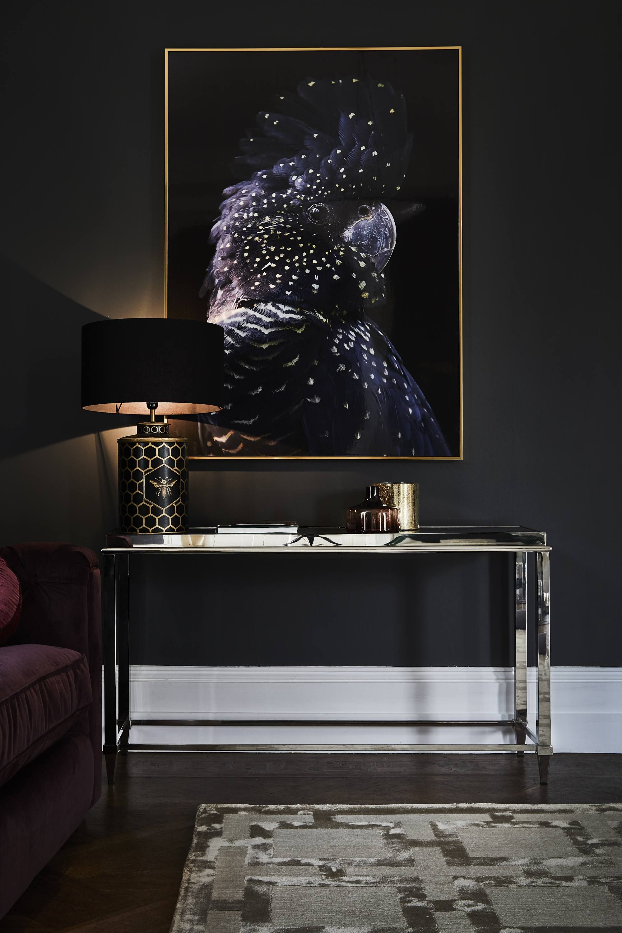 Glass console table decor  Add a luxe look to your living room or hallway with the Alexis Glass