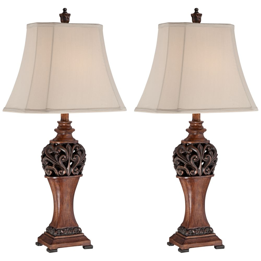 Exeter 30 High Wood Finish Table Lamps Set Of 2 3r187