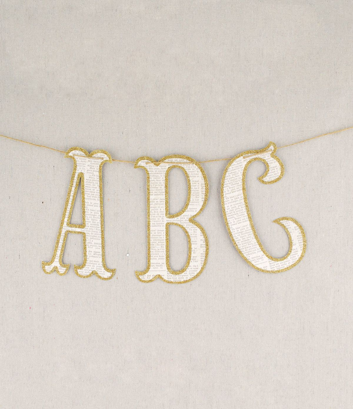 Vintage Style Glitter Letters Banner 45 Letters Glitter Letters