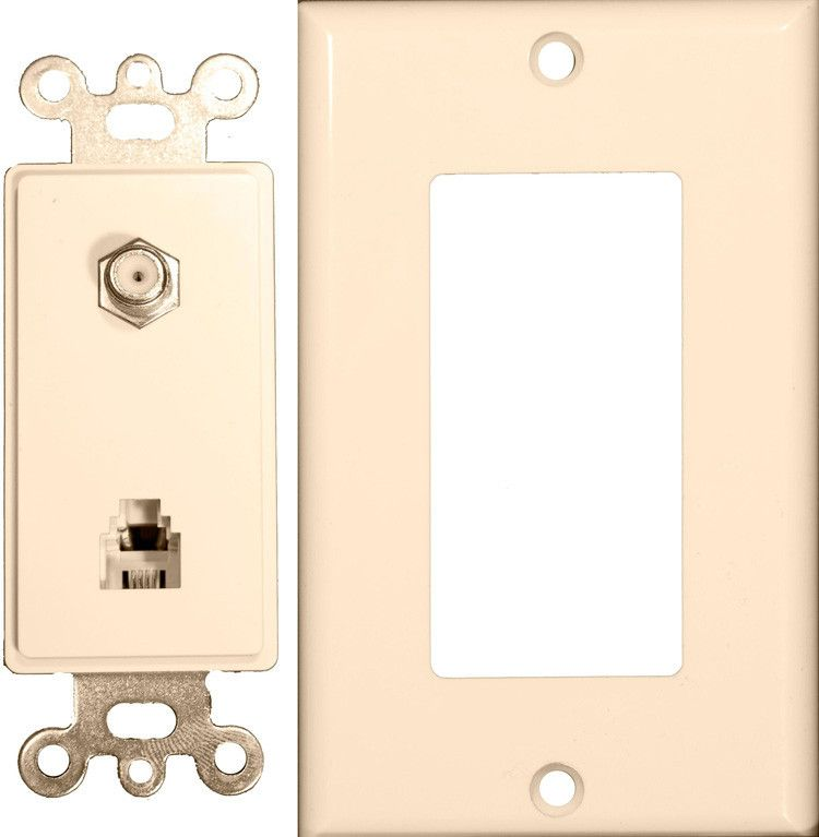 Decorator Combination Phone/CATV Jack 2 Piece Lt. Almond