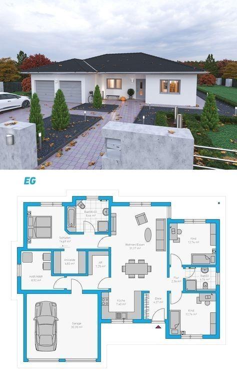 Spektralhaus Ingutenwanden Bungalow Grundriss Hausbau Massivhaus Steinmassivhaus Stein Sims House Plans Beautiful House Plans House Plan Gallery