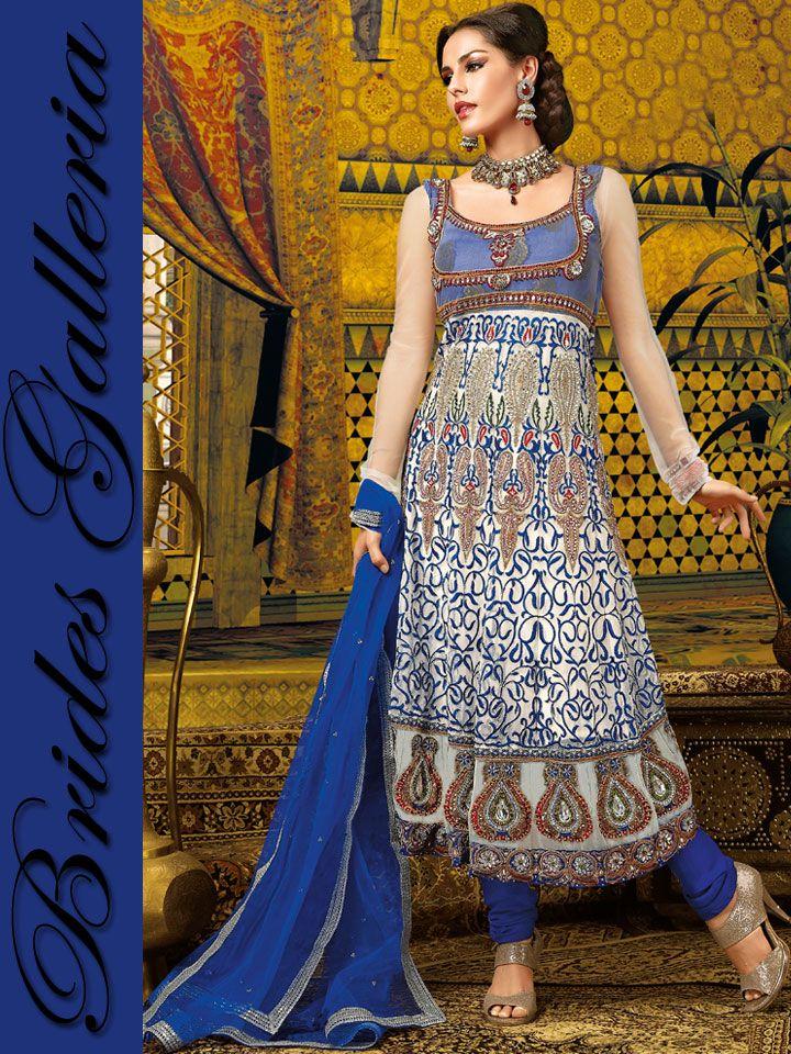 White & Blue Anarkali Style Churidar Kameez latest anarkali dress [BGSU 6427] - US $121.54