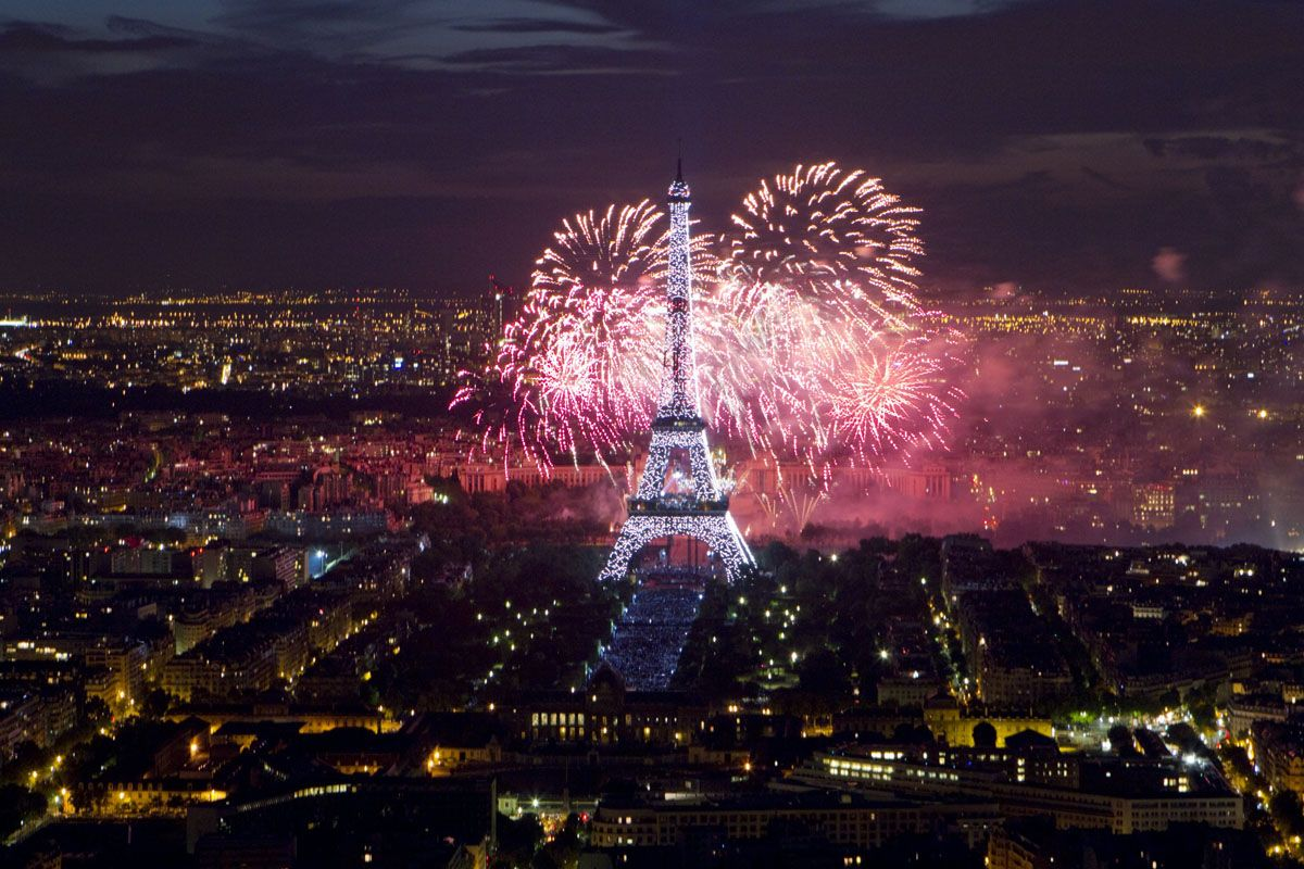 Fireworks salute Bastille Day's traditional military