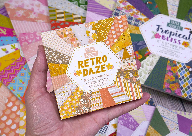 Card Craft Paper Pad 10cm x 10cm Dovecraft Paper Addicts Retro Daze 100gsm