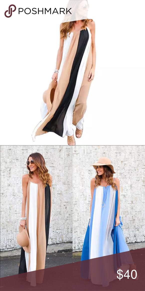 504a0c64db26 BRAND NEW KHAKI   BLACK FLOWY MAXI SUNDRESS👗💜👗 Brand new - flowy chiffon  Dresses Maxi