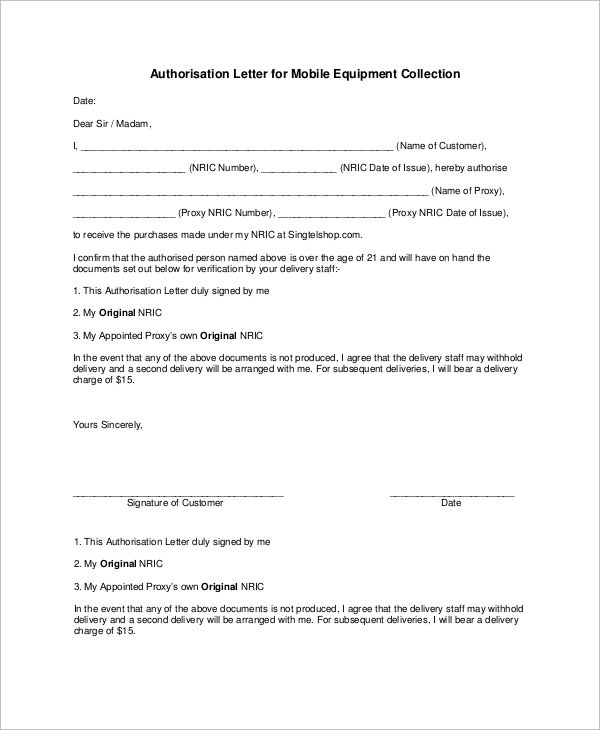 authorisation letter for mobile equipment collection sample - letter to customer