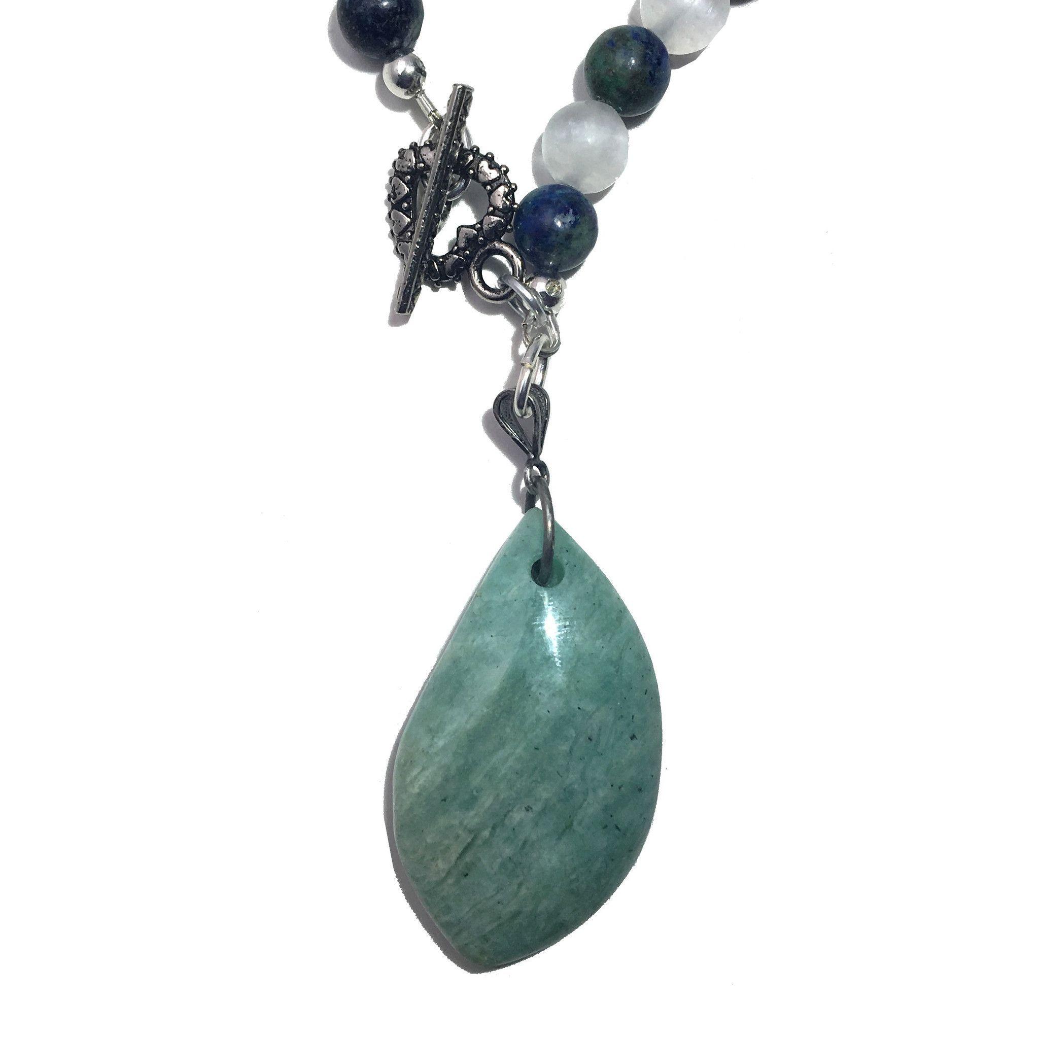 Amazonite Necklace 11 Selenite Chrysocolla Beaded Gemstone
