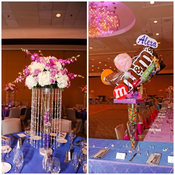 Bat mitzvah centerpieces candy sweet party theme for Decoration annee 80